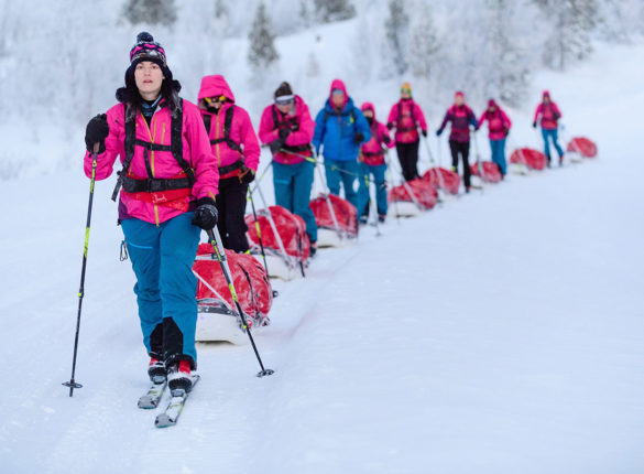 Major Nicola Weatherill and the Ice Maidens trekking through the snow