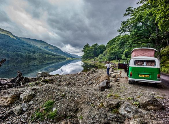 Green VW camper living the vanlife