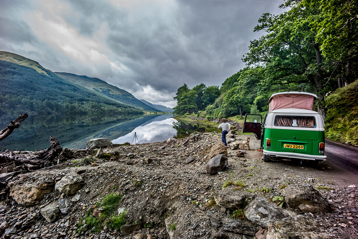 Green VW camper living the vanlife