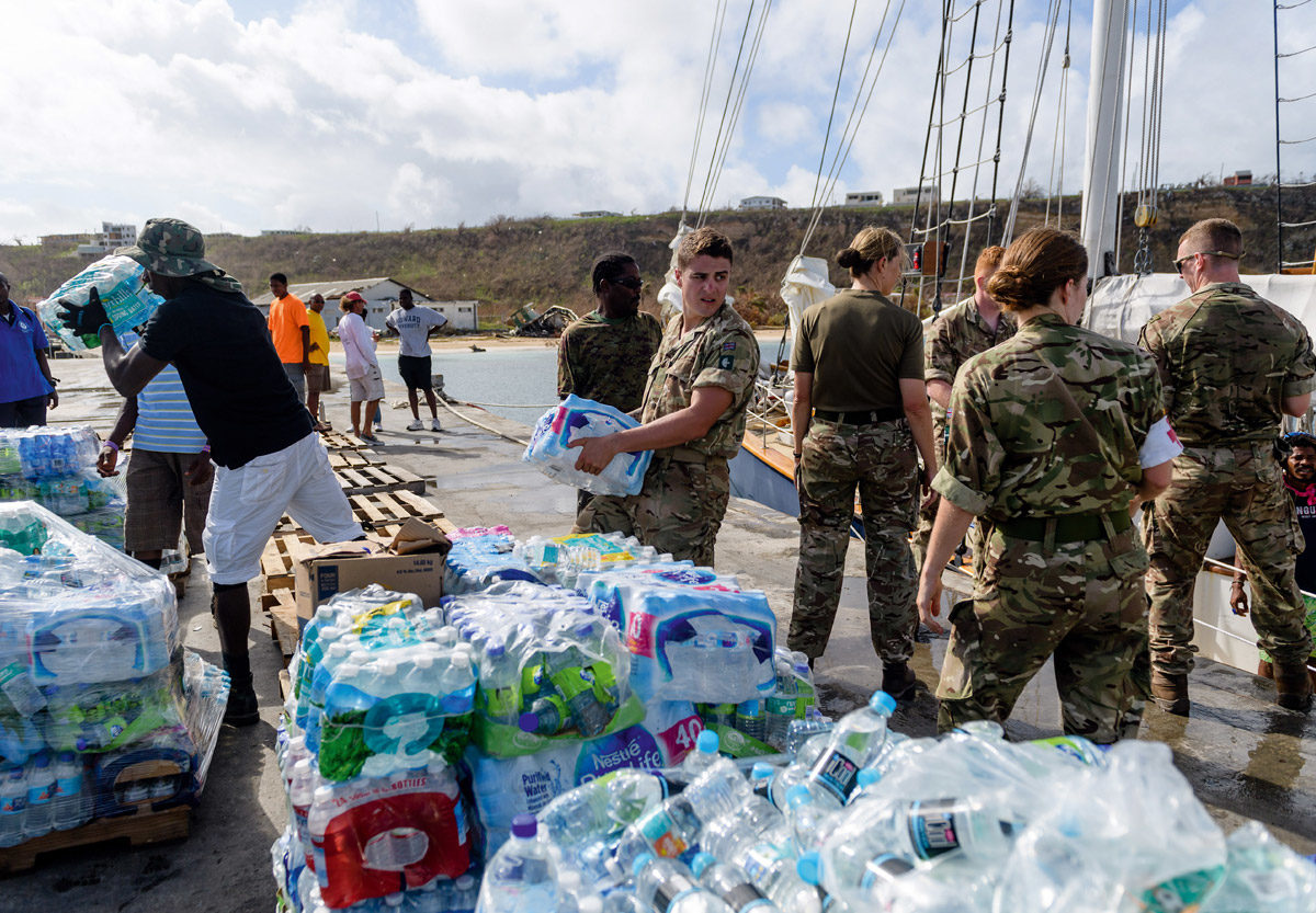 British soldiers deliver aid to Grand Turk