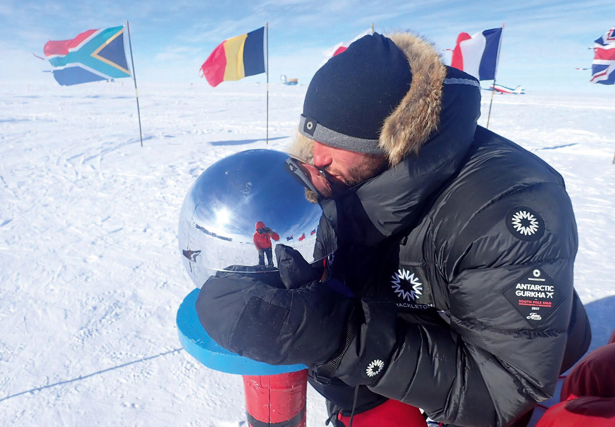 Lieutenant Scott Sears of the First Battalion Royal Gurkha Rifles reaches South Pole