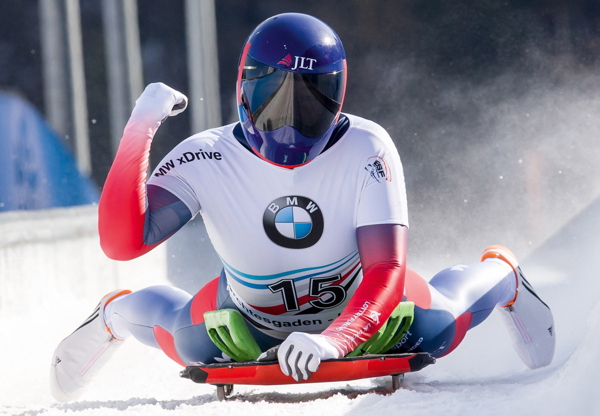 Lizzy Yarnold celebrating during skeleton