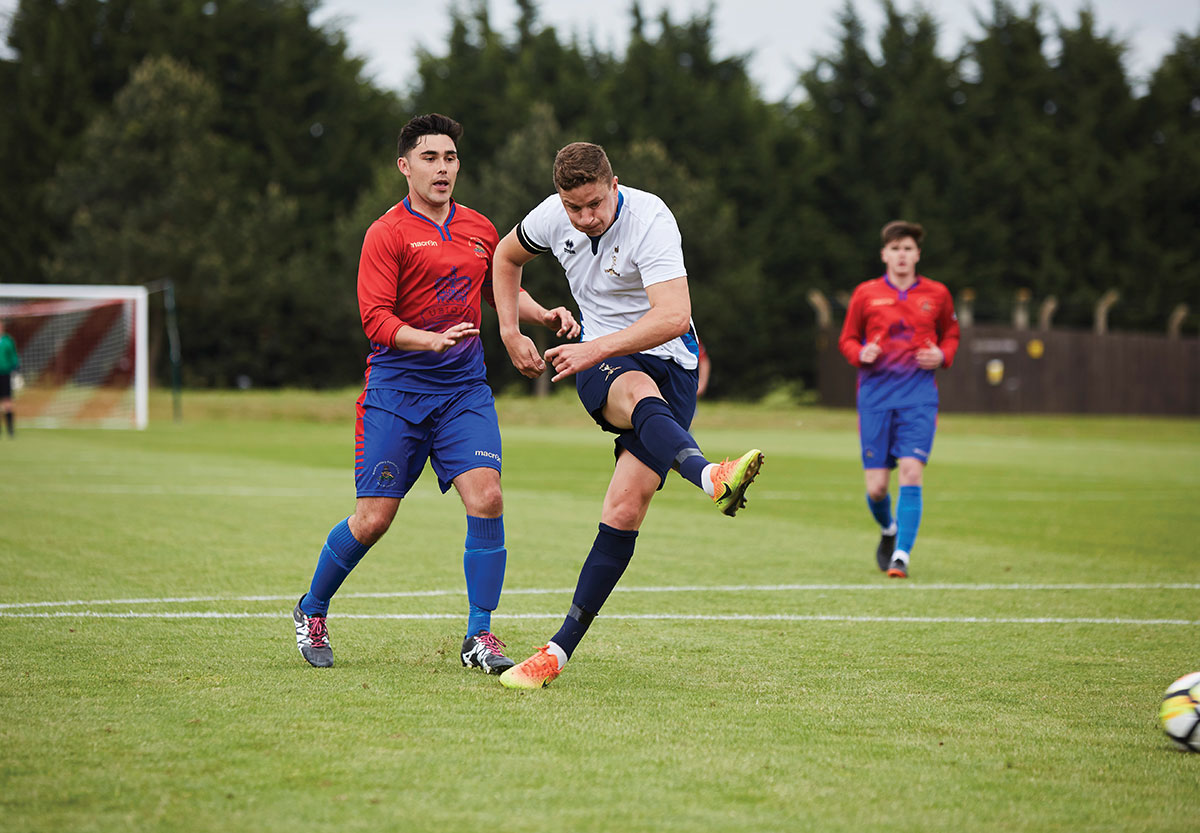 Ryan Paddock scores for the British Army's Royal Signals Corps Football team