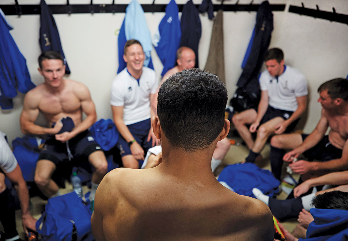 British Army's Royal Signals Corps Football team in the changing rooms