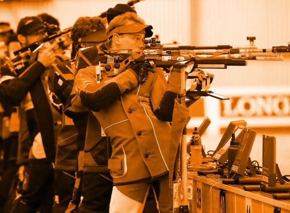 Michael Bamsey competes in Air Rifle events
