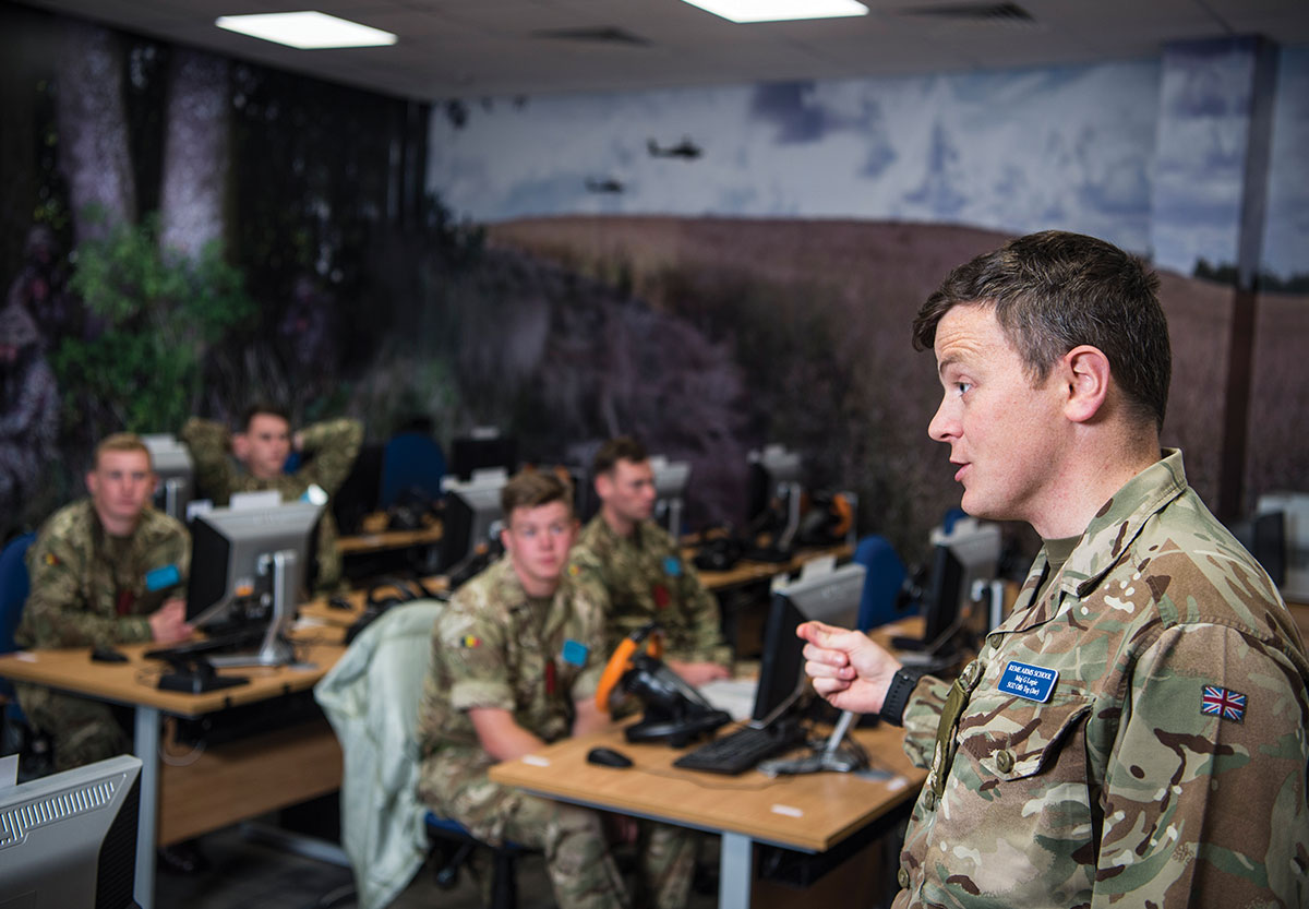 British Army soldiers in Virtual Battlespace System (VBS) training