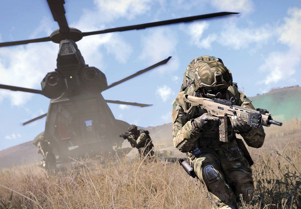 Arma 3 soldiers running out of a helicopter