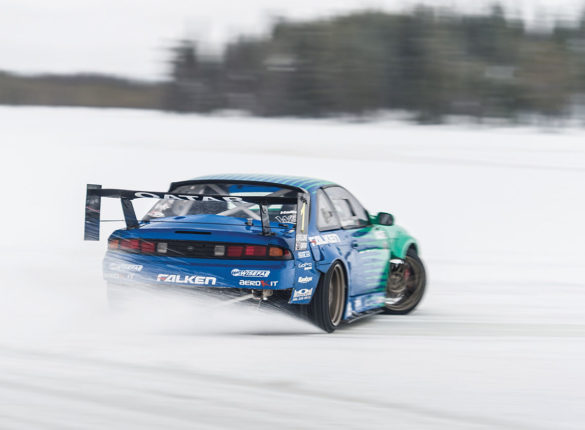 Car driving on ice