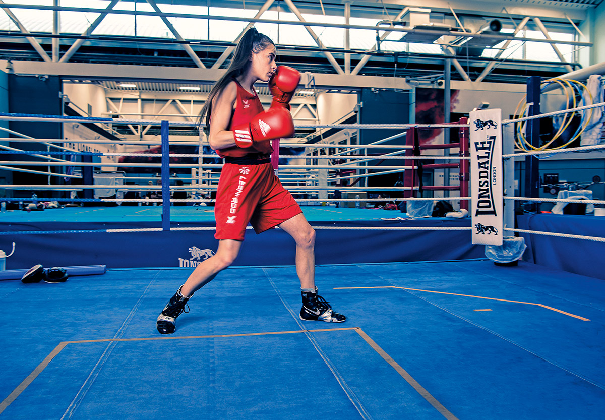 Team GB boxer and British Army Gunner Tori-Ellis Willetts shadow boxing in the ring at the English Institute for Sport