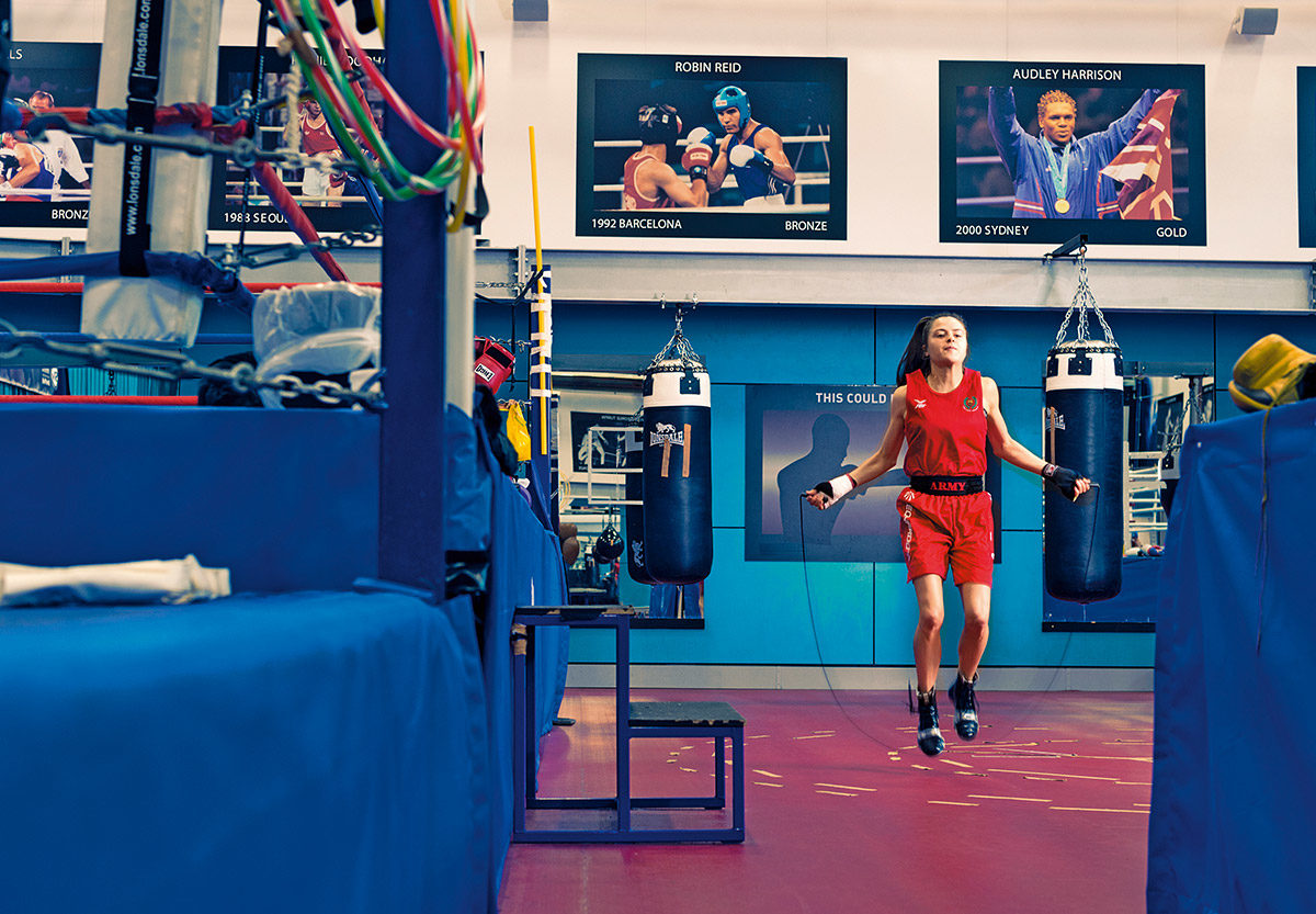 Team GB boxer and British Army Gunner Tori-Ellis Willetts skipping at the English Institute for Sport
