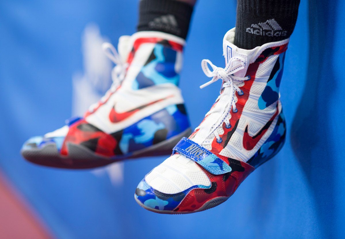 Team GB boxer and British Army Gunner Karriss Artingstall's boxing shoes