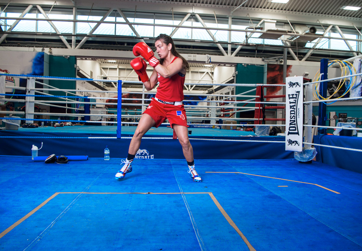 Team GB boxer and British Army Gunner Karriss Artingstall shadow boxing in the ring at the English Institute for Sport