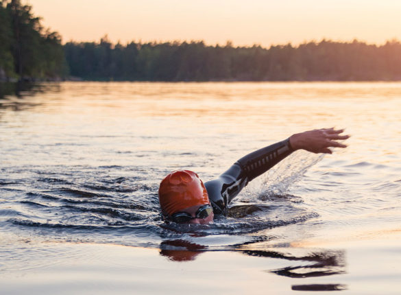 Swimmer in open water
